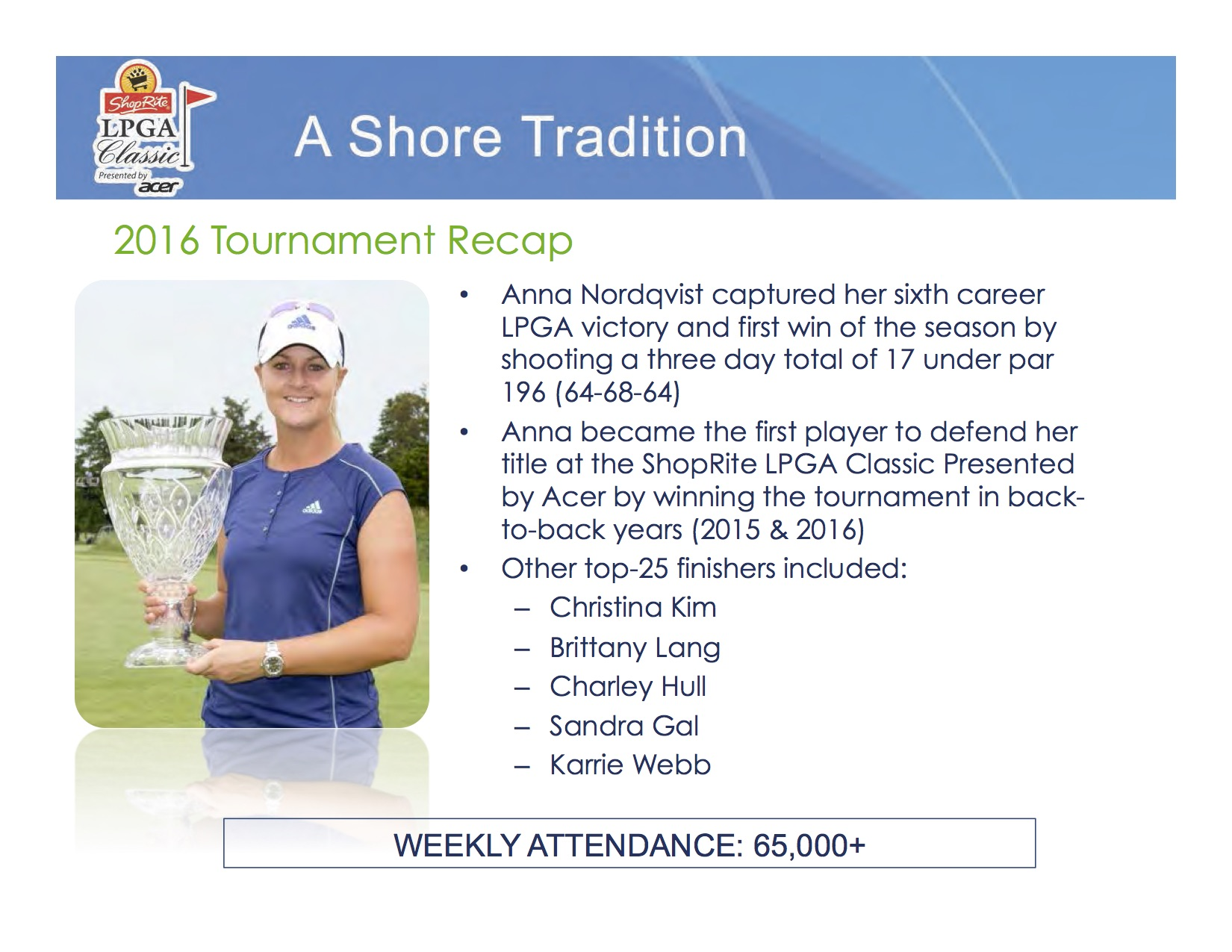 Our partnership with the LPGA Shoprite Classic