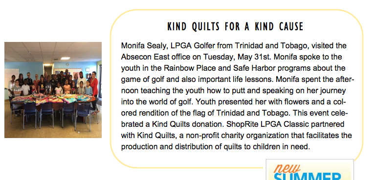 The Family Service Association Recognizes Monifa Sealy & Kind Quilts